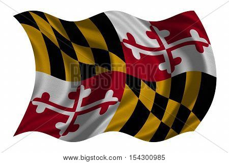 Flag of the US state of Maryland. American patriotic element. USA banner. United States of America symbol. Maryland official flag with real detailed fabric texture wavy isolated on white illustration