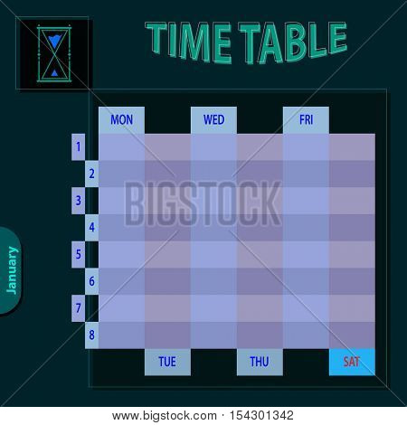 Timetable Schedule Planner Vector Illustration