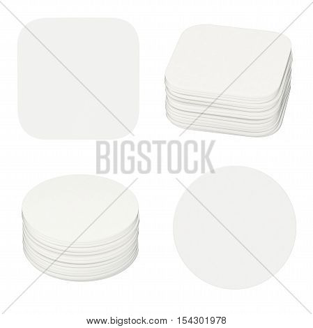Set of white coasters. Isolated on white background. 3d render
