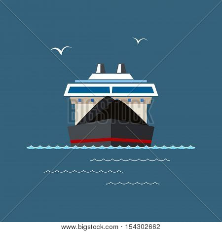 Front View of the Dry Cargo Ship at Sea, Industrial Marine Vessel is Transporting Coal and Ore, International Freight Transportation, Vector Illustration