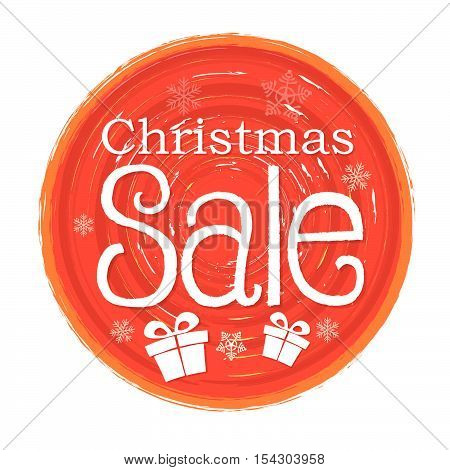 christmas sale - text and gift boxes sign in circular drawn red banner with snowflakes, business holiday concept, vector