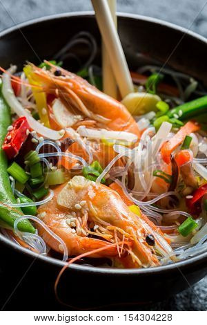 Closeup of chinese mix vegetables and rice noodles