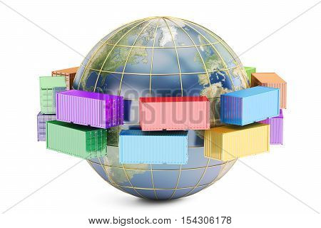 Global cargo shipping and delivery concept 3D rendering isolated on white background