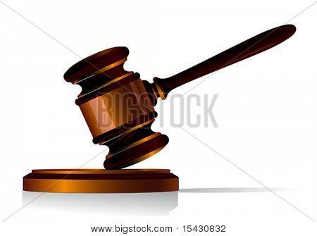 Vektor-Version. Hammer-Symbol als ein Konzept von Gesetz oder Auktion
