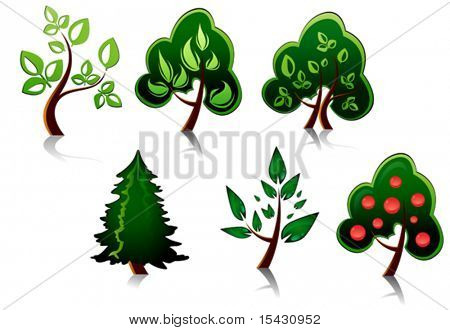 Vector version. Set of tree symbols as a signs or emblems. Jpeg version is also available