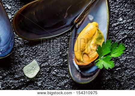 Closeup Of Mussels Served With Garlic And Parsley