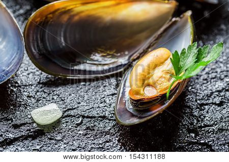 Closeup Of Mussels With Garlic And Parsley