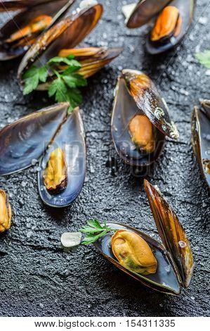 Fresh Mussels Served With Garlic And Parsley