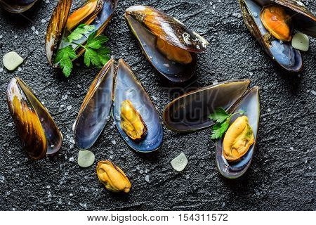 Fresh Mussels Cooking With Parsley And Garlic