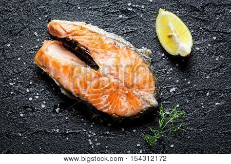 Freshly Fried Salmon Served On A Rock