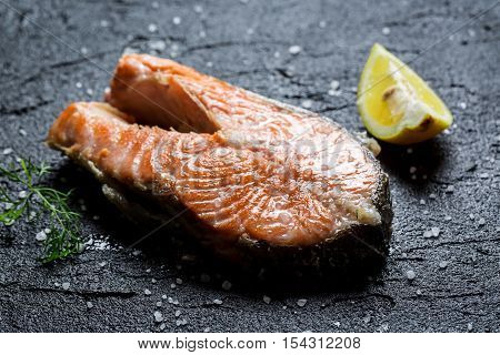 Freshly Fried Salmon Served With Dill And Lemon