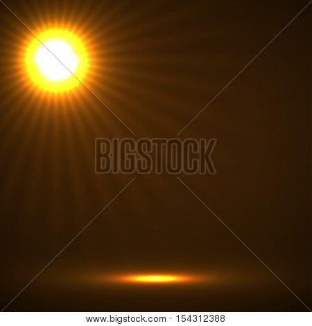 Abstract background with glowing sun rays. Vector orange
