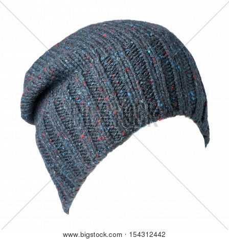 Knitted Hat Isolated On White Background .colorful Hat