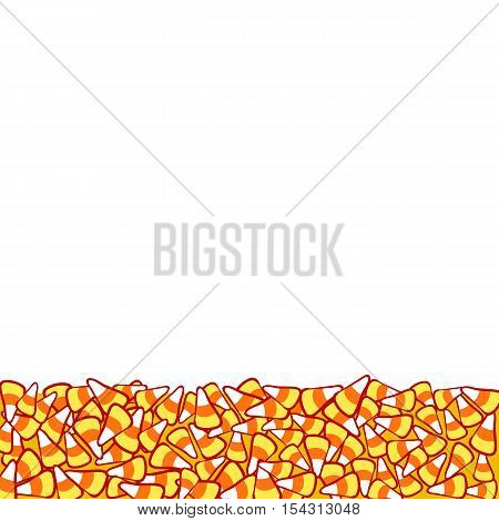 Candy corn border, isolated on white. Halloween vector frame. Hand drawn sketchy background, October 31 design element for halloween party invitation card