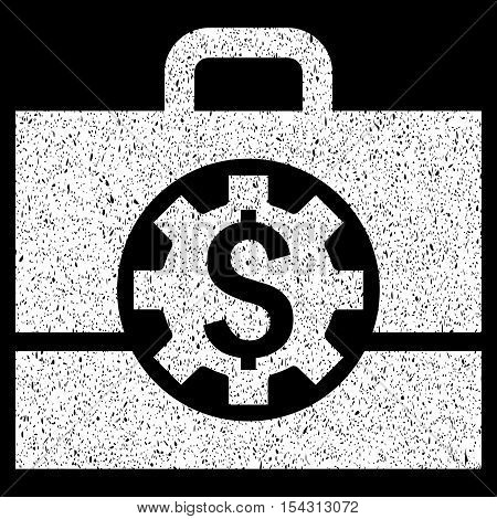 Bank Career Options grainy textured icon for overlay watermark stamps. Flat symbol with dirty texture. Dotted vector white ink rubber seal stamp with grunge design on a black background.
