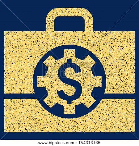 Bank Career Options grainy textured icon for overlay watermark stamps. Flat symbol with dust texture. Dotted vector yellow ink rubber seal stamp with grunge design on a blue background.