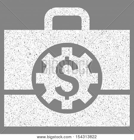 Bank Career Options grainy textured icon for overlay watermark stamps. Flat symbol with unclean texture. Dotted vector white ink rubber seal stamp with grunge design on a gray background.