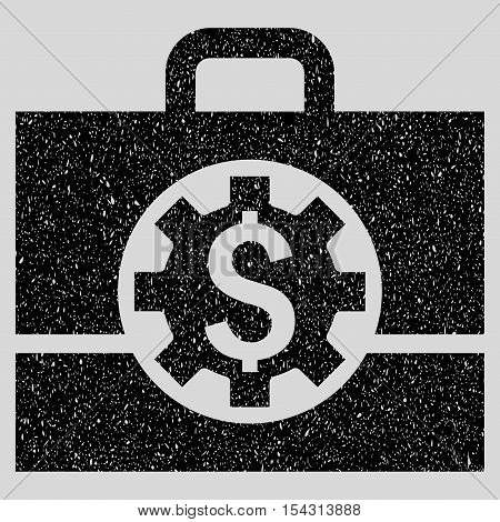 Bank Career Options grainy textured icon for overlay watermark stamps. Flat symbol with scratched texture. Dotted vector black ink rubber seal stamp with grunge design on a light gray background.
