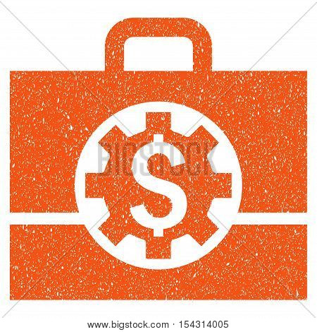 Bank Career Options grainy textured icon for overlay watermark stamps. Flat symbol with scratched texture. Dotted vector orange ink rubber seal stamp with grunge design on a white background.