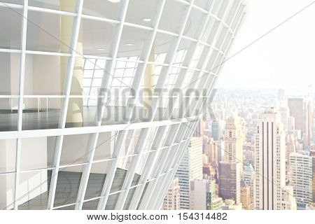 See through glass building exterior on city background. 3D Rendering