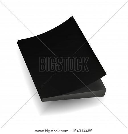 Blank Black Mock Up Cover Of Notebook Magazine Book Booklet Brochure. Illustration Isolated . Template Ready For Your Design.