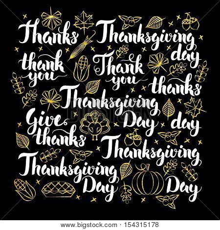 Thanksgiving Day Calligraphy Design. Vector Illustration of Thank You Lettering.