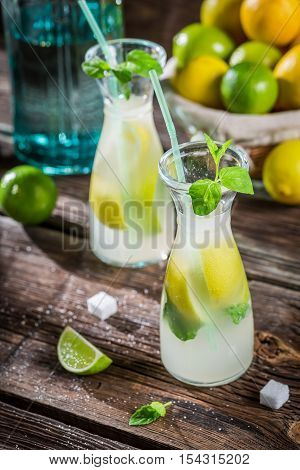 Closeup Of Drink With Citrus Fruit And Ice