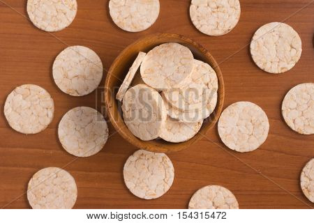 Rice cookies. Top view over a wooden table
