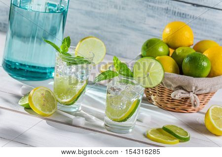 Cold Drink With Citrus Fruit And Ice