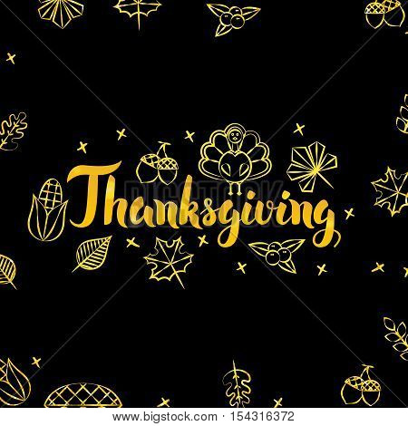 Thanksgiving Gold and Black Design. Vector Illustration of Thank You Calligraphy with Golden Decoration.