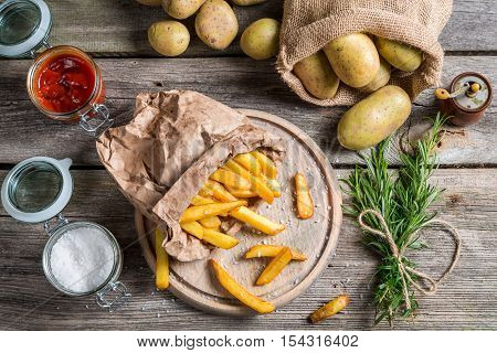 Fresh Homemade Fries With Salt And Ketchup