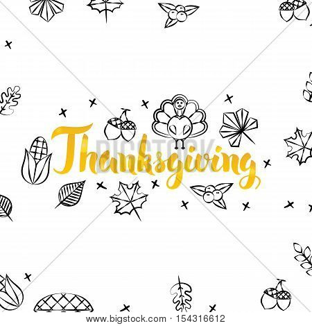 Thanksgiving Gold Greeting Postcard. Vector Illustration of Seasonal Holiday Lettering with Golden Doodles.