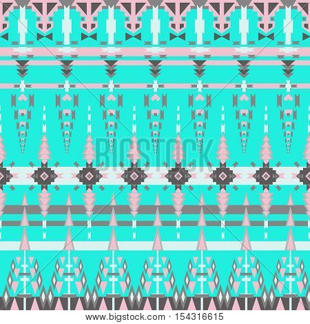 Colorful aztec seamless pattern on blue background. Ethnic abstract geometric texture. Hand drawn navajo fabric. Aztec Pattern Tribal. Used for  web page background fabric paper .