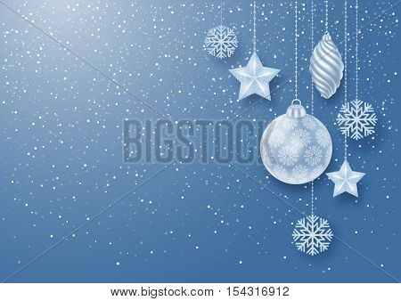 Festive Christmas Background with Christmas Decorations and White Glitters. Vector Stock Illustration.