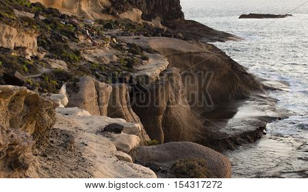 Nice Tenerife cliffs highly eroded by Atlantic Ocean
