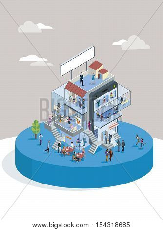 Modern Office Building In Isometric View with businessman and businesswoman working in different departments. Business presentations and meetings.