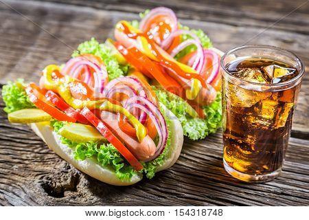 Homemade Hot Dog With Mustard And Ketchup