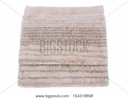 Cotton linen cut pile rug isolated on white background