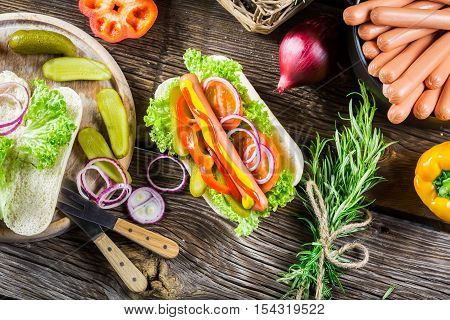 Ingredients For Homemade Hot Dog With Fresh Vegetable
