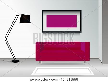 Realistic purple sofa with floor lamp carpet and photoframe on the wall. Interior illustration.Furniture Design Concept.