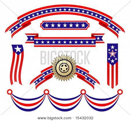 Jpeg version. American patriotic ribbons set for design and decorate. Vector version is also available