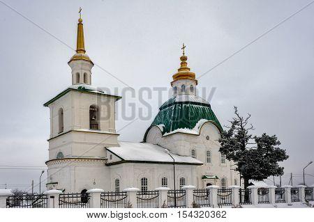 Saviour Preobrazheniya Church in winter. Preobrazhenka. Tobolsk district. Russia