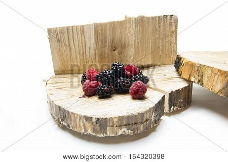 Blackberries And Raspberries. Blackberry Raspberry On The Vine.