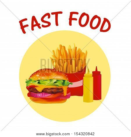 Vector Realistic fast Food icon Set Burger French Fries Ketchup Mustard.