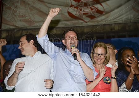 Rio de Janeiro Brazil - october 30 2016: Crivella is elected mayor of the city of Rio de Janeiro and speaks for the first time with people in Bangu Atlético Clube north of the city