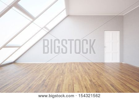 Side view of loft room with blank wall wooden floor white door and window with daylight. Mock up 3D Rendering