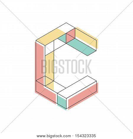 Vector illustration capital letter C isometric logo design.