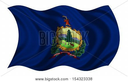 Flag of the US state of Vermont. American patriotic element USA banner United States of America symbol Vermonter official flag with real detailed fabric texture wavy isolated on white 3D illustration