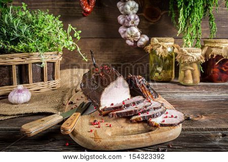 Preparations of vegetables in the basement on wooden table