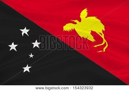 Flag of Papua - New Guinea Port Moresby Melanesia. 3d illustration